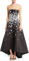 Monique Lhuillier Strapless Floral-Appliqué High-Low Gown, Azalea