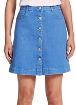 Stella McCartney Button-Front A-Line Denim Skirt