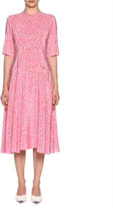 Marni Elbow-Sleeve Lily-Print Silk Woven Midi Dress