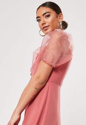 Missguided Petite Blush Organza Puff Sleeve Skater Dress