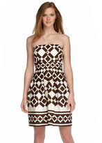 London Times strapless printed dress