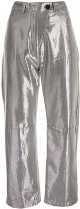 Ann Demeulemeester Helm metallic trousers