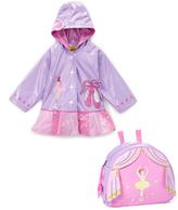 Kidorable Purple & Pink Ballerina Raincoat & Backpack Set