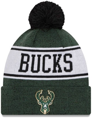 New Era Men's Hunter Green/Black Milwaukee Bucks Banner Cuffed Knit Hat with Pom