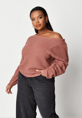 Missguided Size Rose Waffle Knit Off The Shoulder Jumper