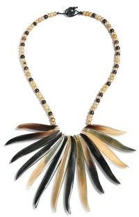 Bling Jewelry Buffalo Horn Tweak Wood Beads Fan Necklace Woman Gold Plated Ball