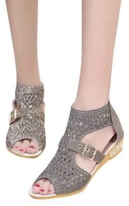 Online Women's Gladiator Wed-ges Sandals Hollow High Heels Shoes