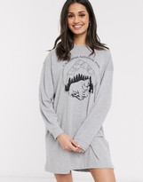 Daisy Street oversized long sleeve t-shirt dress with national park print