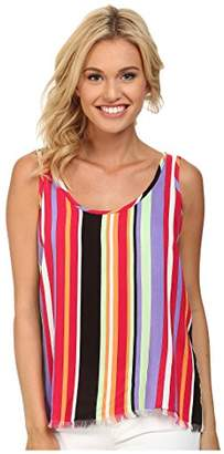 Cruel Women's Striped Rayon Tank Top Knotted