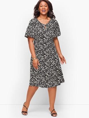 Talbots Knit Jersey Fit & Flare Dress - Floral
