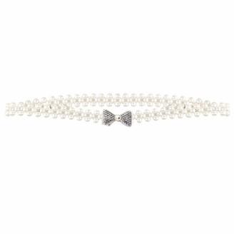 Milya Pearl Belt for Women - Elastic Waist Belt Bridal Belt Chain Belt Hip Belt - Pearl Belt for Wedding Dress - - One size