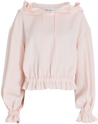 ADEAM Ruffled Crepe Hooded Sweatshirt