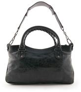 BALENCIAGA - Small black leather top handle bag