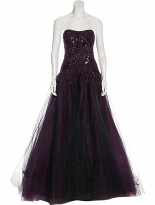 Marchesa Embellished Strapless Gown Plum