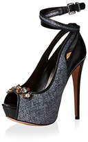 Schutz Women's Platform Peep Toe Pump With Ankle Strap Wrap