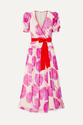 Diane von Furstenberg Ruffled Printed Crinkled Silk-chiffon Wrap Maxi Dress - Pink