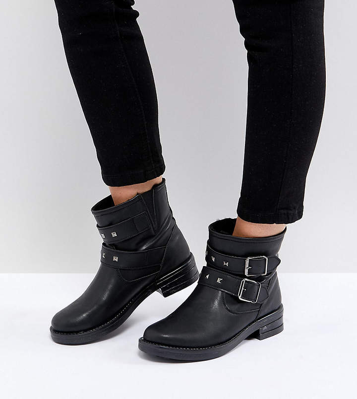 31667cd09d3 Design ACCENT Wide Fit Studded Biker Ankle Boots