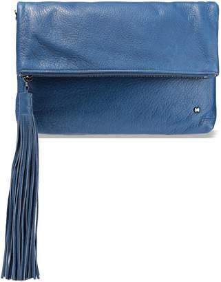 Halston Christie Tasseled Textured-leather Clutch