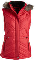 Weatherproof Red Faux Fur-Trim Hood Puffer Vest