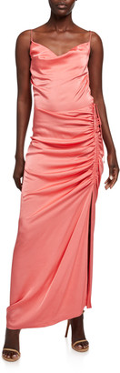 Veronica Beard Natasha Cowl-Neck Sleeveless Ruched Satin Dress
