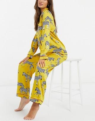 Chelsea Peers premium satin Zebra printed long revere pyjama set in mustard