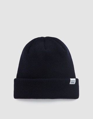 Norse Projects Men's Norse Beanie Hat in Dark Navy | Wool