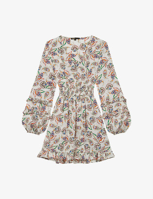 Maje Risley tiered bell-sleeve paisley-print satin dress