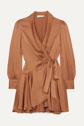 Zimmermann Super Eight Silk Wrap Mini Dress - Bronze