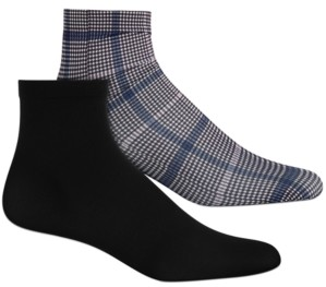 INC International Concepts Inc Women's 2-Pk. Plaid & Solid Anklet Fashion Socks, Created for Macy's