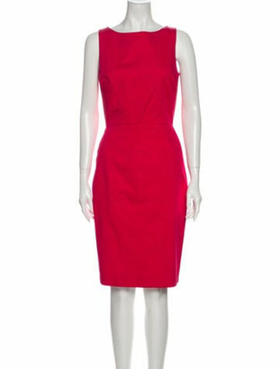 Christian Dior Bateau Neckline Knee-Length Dress Pink