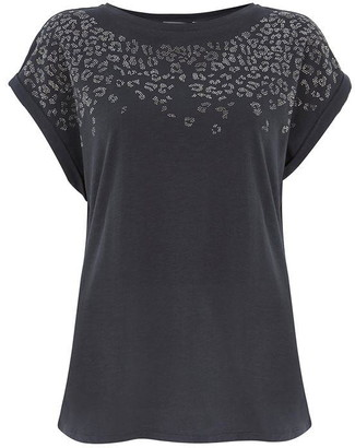 Mint Velvet Grey Studded Leopard T-Shirt