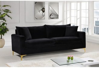 "Mercer41 Boutwell 81.5"" Square Arm Sofa Fabric: Black"