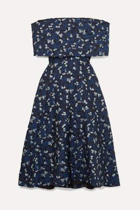 Lela Rose Off-the-shoulder Cloque Midi Dress - Navy