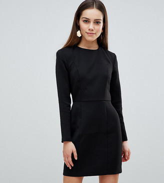 Asos DESIGN Petite shoulder pad mini dress with seams-Black