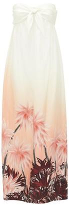 Françoise Francoise - Strapless Palm Tree-print Silk Midi Dress - White Print