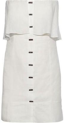 Vix Paula Hermanny Strapless Ruffled Linen-blend Mini Dress