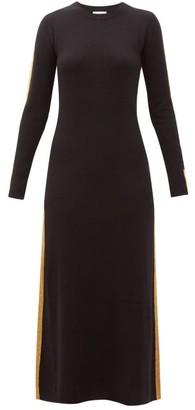 Bella Freud Britt Gold-striped Cashmere Maxi Dress - Black