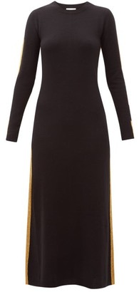Bella Freud Britt Gold-striped Cashmere Maxi Dress - Womens - Black