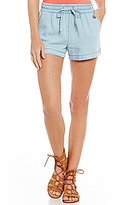Freestyle Chambray Drawstring-Waist Front-Pockets Soft Shorts