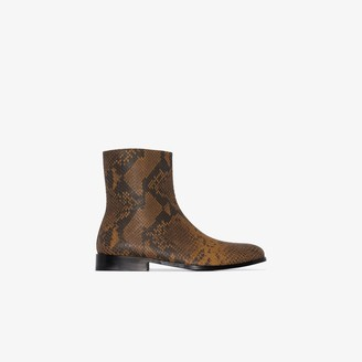 Dries Van Noten Brown Leather Snake Print Ankle Boots