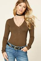 Forever 21 Ribbed Knit V-Neck Top