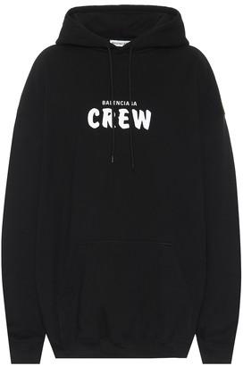 Balenciaga Crew printed cotton-fleece hoodie