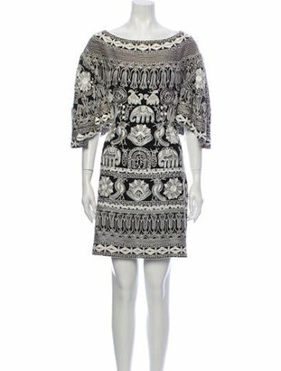 Naeem Khan Printed Mini Dress Black