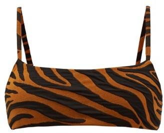 Mara Hoffman Sia Tiger-jacquard Bikini Top - Brown Print