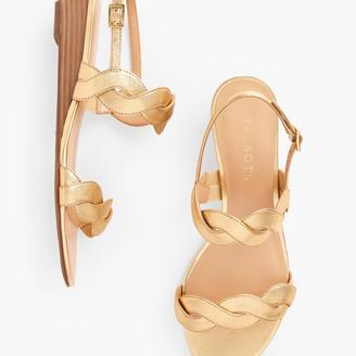 Talbots Capri Twist Mini Wedge Sandals - Metallic Leather