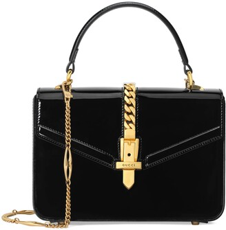 Gucci Sylvie 1969 patent leather mini top handle bag