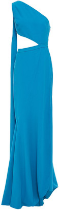 Elie Saab One-shoulder Cutout Draped Crepe Gown