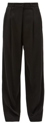 Brunello Cucinelli Pleated High-rise Crepe Wide-leg Trousers - Black