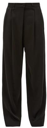 Brunello Cucinelli Pleated High-rise Crepe Wide-leg Trousers - Womens - Black