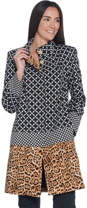 Dennis Basso Printed Luxe Crepe Snap Front Jacket